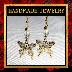 Golden Butterfly Crystal Quartz Earrings #309